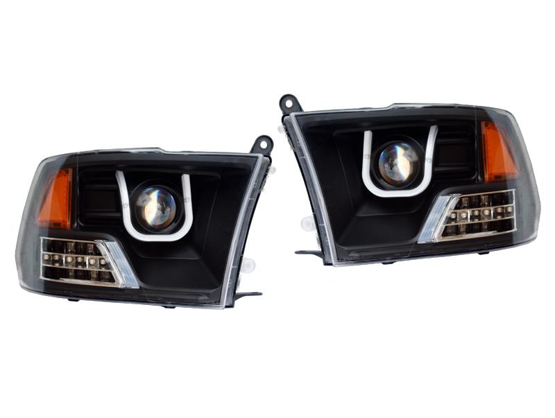 ダッジ ラムピックアップ ラムトラック プロジェクターヘッドライト ブラック CCFLバー アンバーリフレクター '09y~'15y【アメ車パーツ】