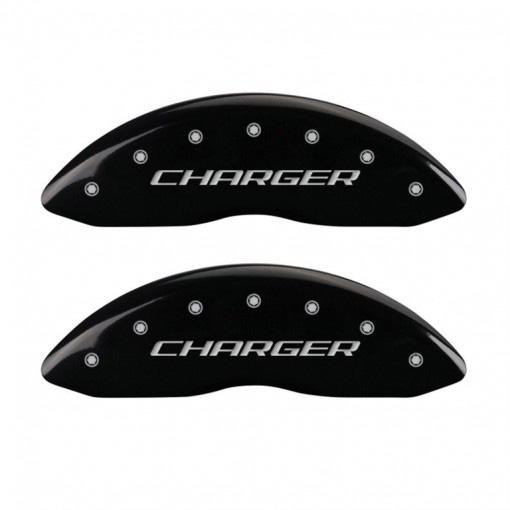 【車種専用設計】チャージャー ブレーキキャリパーカバー チャージャーロゴ ブラック 4PC '11y-'20y【フロントデュアルピストンキャリパー車】【アメ車パーツ】