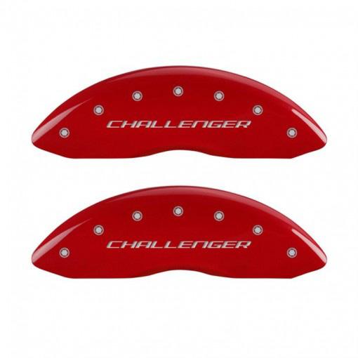 【売り切り特価!】ブレーキキャリパーカバー チャレンジャーロゴ レッド 4PC【車種専用設計】 | ダッジ チャレンジャー '11y~'15y (フロントシングルピストンキャリパー車)【アメ車パーツ】