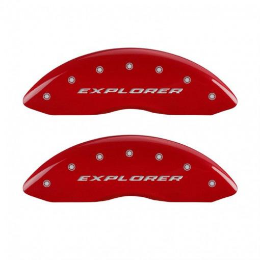 【車種専用設計】エクスプローラー スポーツ ブレーキキャリパーカバー エクスプローラーロゴ レッド 4PC '13y~'16y【アメ車パーツ】