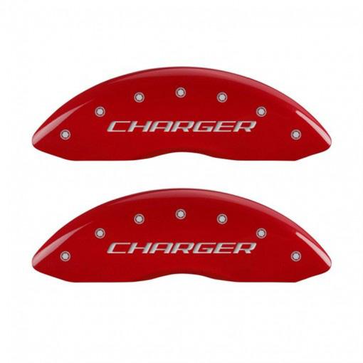 【車種専用設計】チャージャー ブレーキキャリパーカバー チャージャー&チャージャストライプロゴ レッド 4PC '11y-'20y【フロントシングルピストンキャリパー車】【アメ車パーツ】