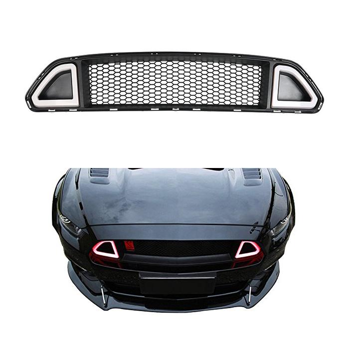 【マスタングカスタム】FORD MUSTANG フォード マスタング フロントグリル V6 GT エコブースト用 アッパー デイライト付き レッド '15y~'17y【アメ車パーツ】