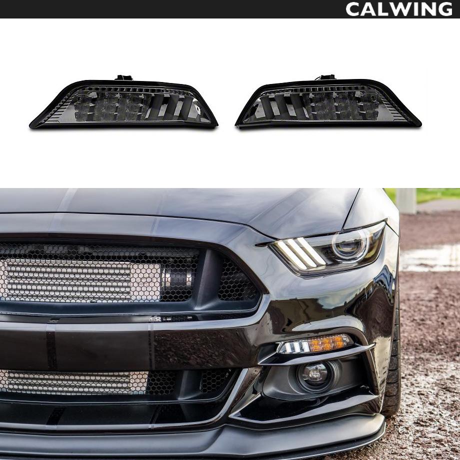 FORD/フォード MUSTANG/マスタング ウインカーランプキット ターンシグナルランプ スモーク LED シーケンシャルアンバーフラッシュシグナル&ホワイトランニングライト '15y~'17y【アメ車パーツ】