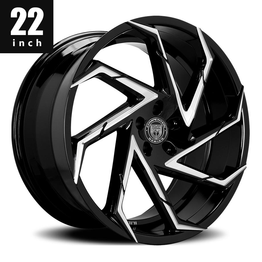 300 300C ホイール レグザーニ/LEXANI CYCLONE ブラックCNC 22インチ タイヤセット【アメ車パーツ】