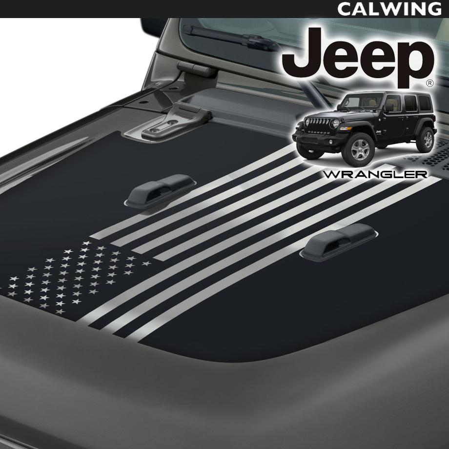 JEEP/ジープ WRANGLER/ラングラー JL カスタムボンネットフードデカール USフラッグデザイン MOPAR 純正 耐久 耐熱 '18y~【アメ車パーツ】