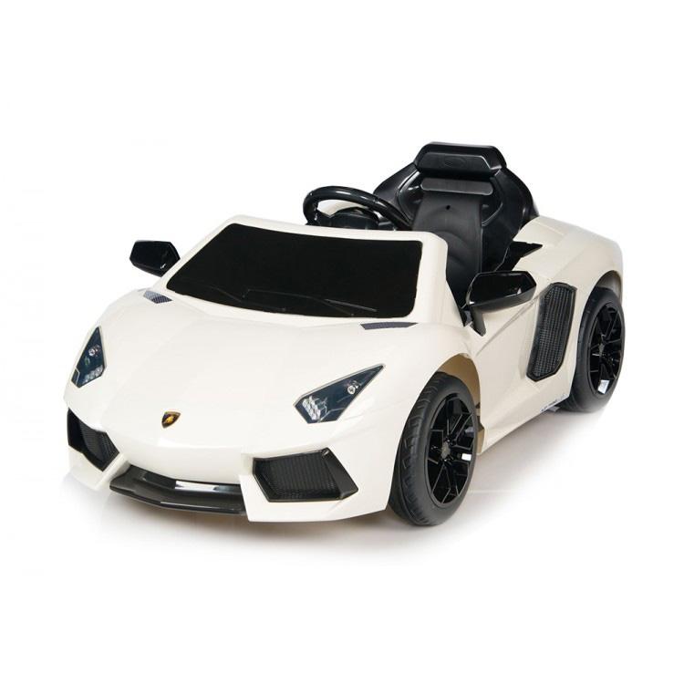 電動乗用 子供用ラグジュアリーカー キッズ ベビー おもちゃ トイ ランボルギーニ アヴェンタドール ホワイト ライト点灯OK プロポコントローラー付属 12V