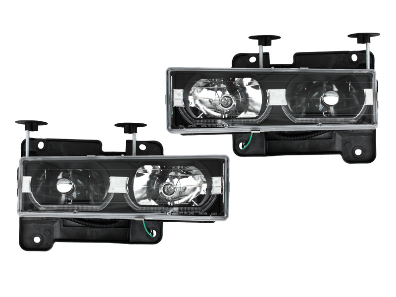 C/Kトラック ユーロヘッドライト ブラック LEDバー '94y~'98y【アメ車パーツ】