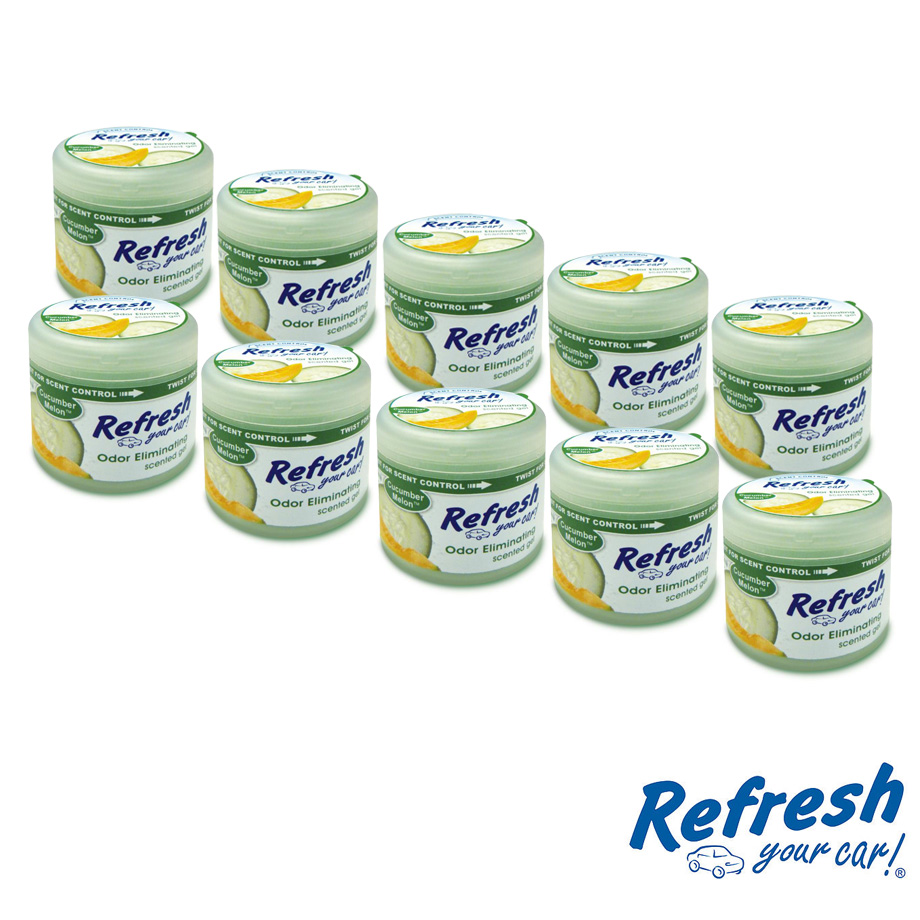 アメリカの香り エアフレッシュナー カーフレッシュナー ルーム オフィス 玄関 トイレ等 おしゃれ カーフレグランス 芳香剤 消臭 ボトル ゲルタイプ リフレッシュ Refresh キューカバーメロン CucumberMelon 4.5オンス 10pc USA