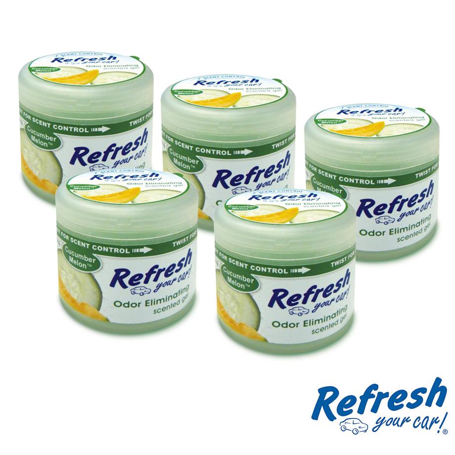 アメリカの香り エアフレッシュナー カーフレッシュナー ルーム オフィス 玄関 トイレ等 おしゃれ カーフレグランス 芳香剤 消臭 ボトル ゲルタイプ リフレッシュ Refresh キューカバーメロン CucumberMelon 4.5オンス 5pc USA