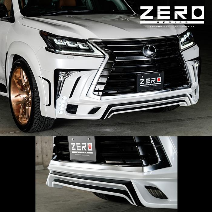 LEXUS レクサス LX570 ZERO DESIGN ゼロデザインフロントハーフスポイラー 5連LED FRP製 黒ゲルコート仕上げ '15y-【逆輸入車/国産車パーツ】