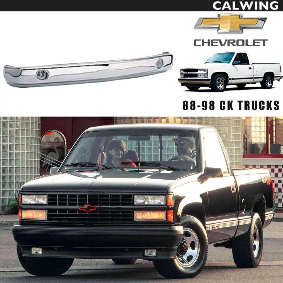 CHEVY C/Kトラック(C-1500・K-1500) フロントバンパー クローム ダブルフォグランプ センター '88~'98y【アメ車パーツ】