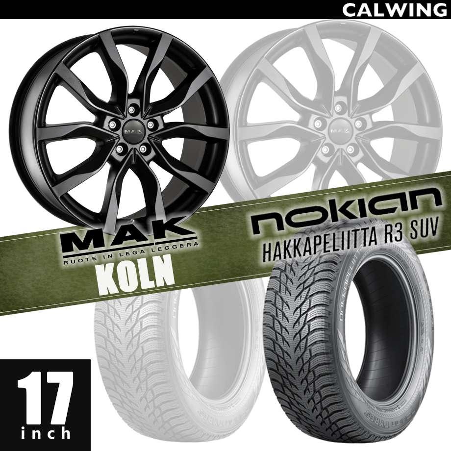 スタッドレスタイヤ&ホイールセット MAK ケルン/17インチ7J スタッドレスタイヤNOKIAN ハッカペリータR3 245/65-17