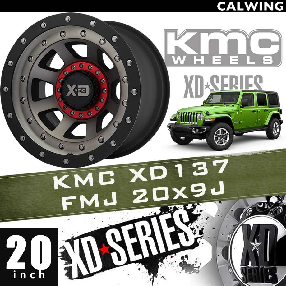 【正規品】オフロードホイール XD137 FMJ サテン ブラックマシン サテン ブラックマシン ダーククリアーコート ブラックリップ 20x9J PCD 5x127/139.7 1本 KMC