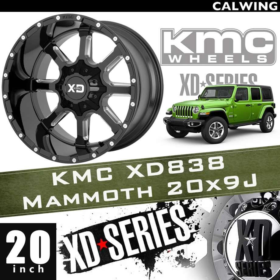 【正規品】オフロードホイール XD838 MAMMOTH グロスブラックミルド 20x9J PCD 5x127/139.7 1本 KMC