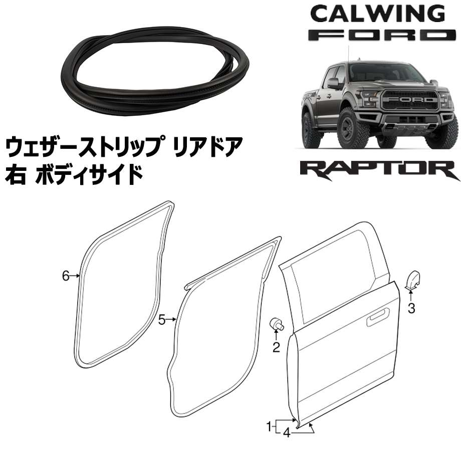 FORD/フォード F150 RAPTOR/ラプター '17y-   ウェザーストリップ リアドア 右 ボディサイド MOTORCRAFT純正【アメ車パーツ】