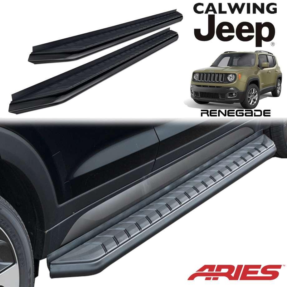 JEEP/ジープ RENEGADE/レネゲード '15y- | ランニングボード AEROTREAD/エアロトレッド 5インチ アルミ製 ブラック ARIES/アリーズ【アメ車パーツ】