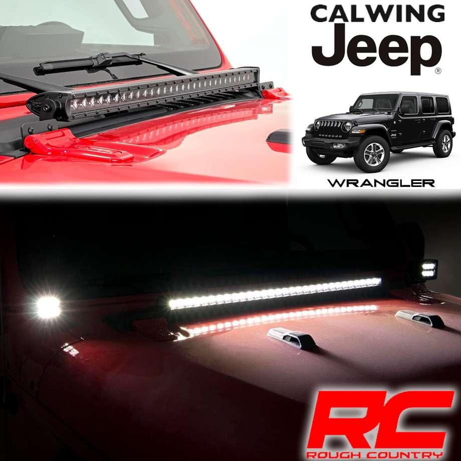 JEEP/ジープ WRANGLER/ラングラー JL '18y- | LEDフードライトキット インナーブラック 30インチ ROUGHCOUNTRY/ラフカントリー【アメ車パーツ】