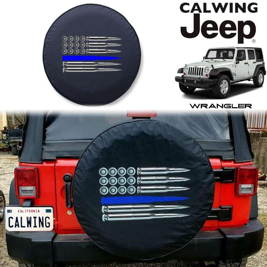 JEEP/ジープ WRANGLER/ラングラー JK '07y-'18y | Police ブルーライン Ammo Flag 背面タイヤカバー ソフトタイヤカバー 255/75R17 255/70R18サイズ【アメ車パーツ】