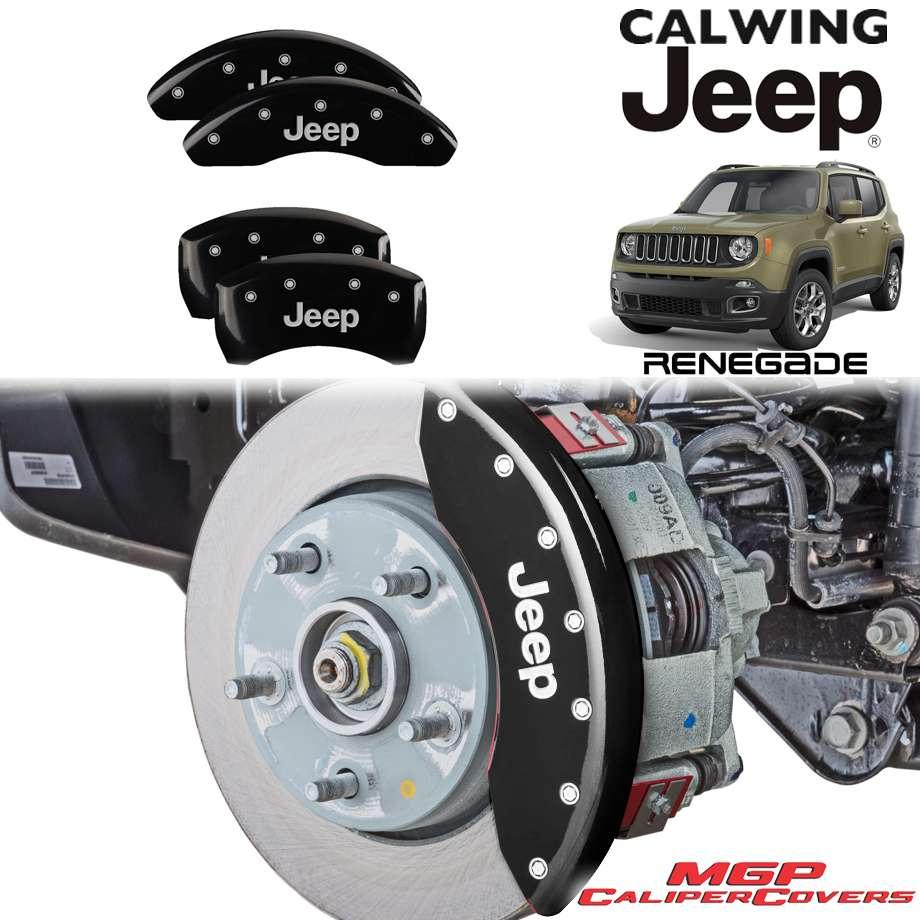 JEEP/ジープ RENEGADE/レネゲード '15y-'17y | ブレーキキャリパーカバー JEEPロゴ ブラック 4PC MGP【アメ車パーツ】