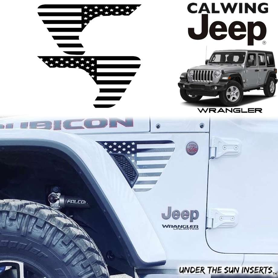 JEEP/ジープ WRANGLER/ラングラー JL '18y- | フェンダーベントデカール USフラッグ ブラック&ホワイト 2PCS UNDER THE SUN INSERTS/アンダーザサンインサート【アメ車パーツ】