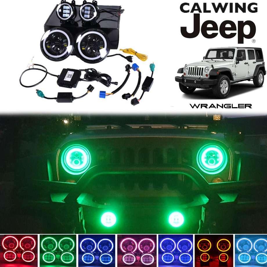 07-18y ラングラー JK | LEDヘッドライト /フォグランプセット 7インチヘッドライトHALOリング 4インチフォグ RGB