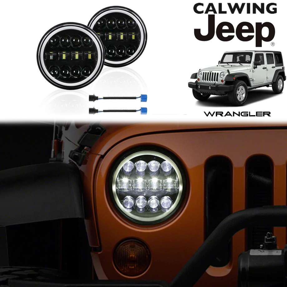 JEEP/ジープ WRANGLER/ラングラー JK/JL/TJ/CJ/YJ/LJ | LEDヘッドライト 7インチ デイライトHALOリング 300W 12プロジェクター【アメ車パーツ】