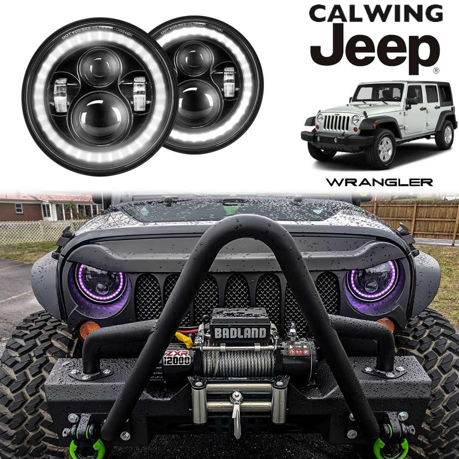 ラングラー JK/JL/TJ/CJ | LEDプロジェクターヘッドライト 7インチ HALO LEDリング RGB