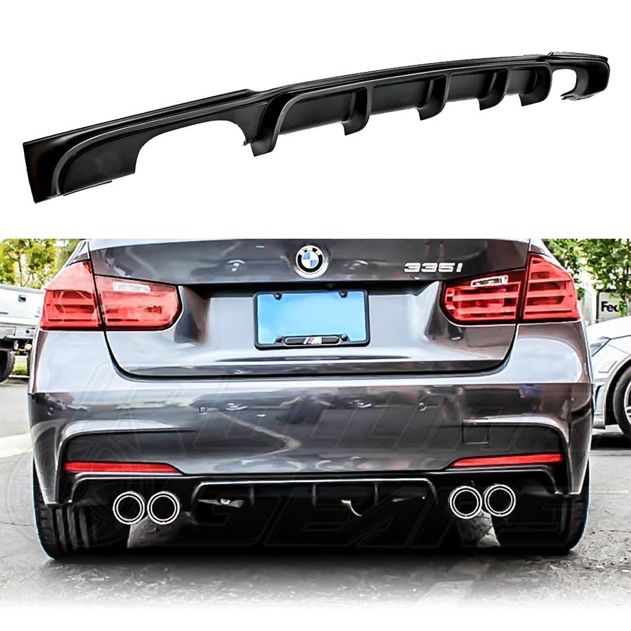 BMW 3シリーズ F30  RollingGears/ローリングギア リアバンパーリップスポイラー 5フィンタイプ 両側各2本出しマフラー用 ブラック ABS 1ピース '11y~'18y