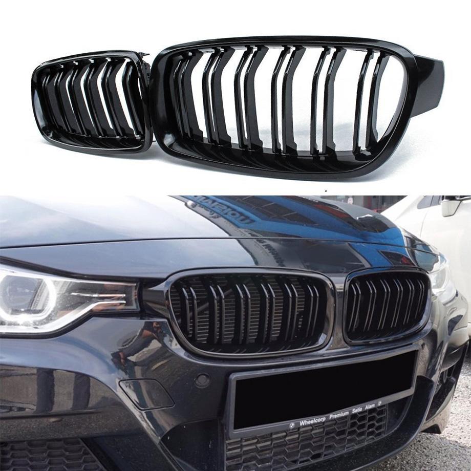純正交換用 簡単取付け BMW 3シリーズ F30 F31 F35 ドライブツインフィンタイプ キドニーブラック フロントグリル 左右セット '12y~'14y