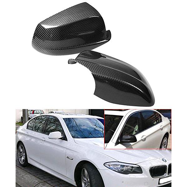 純正ミラーに被せるだけ!!! BMW 5シリーズ F10 ドアミラーカバーセット カーボンファイバーカラーカバー '11y~'13y
