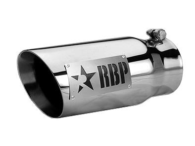 マフラーチップ 12インチ ドライバーサイド RBP クローム 汎用 ブラックロゴ 4