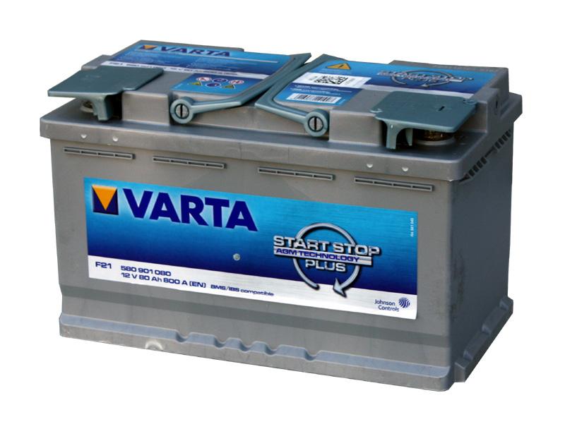 バッテリー バルタ/VARTA 580-901-080 (GP94R/AGM80A) トップターミナル 欧州車用