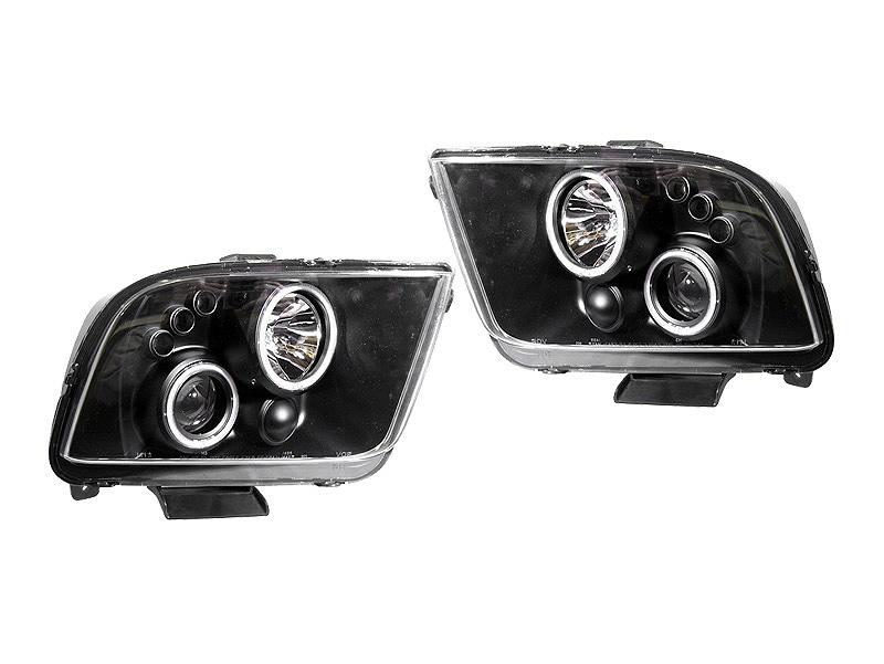 マスタング クリアプロジェクターヘッドライト CCFLリング ブラック '05y~'09y【アメ車パーツ】