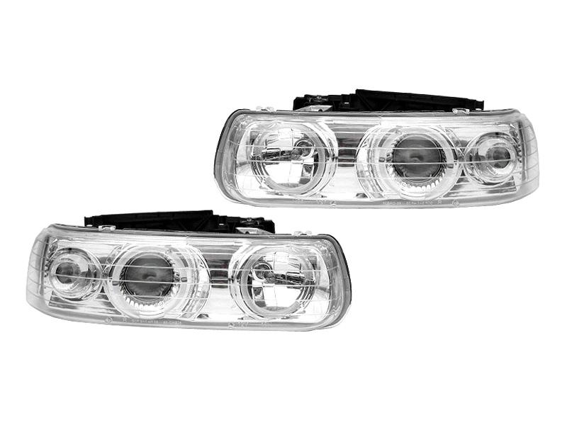 シルバラード クリアプロジェクターヘッドライト LEDリング '99y~'02y【アメ車パーツ】