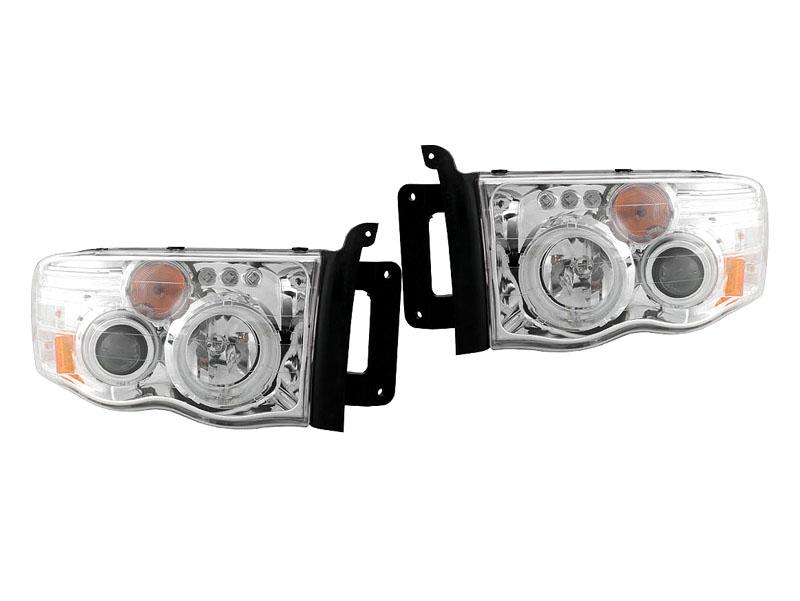 ダッジ ラムピックアップ ラムトラック クリアプロジェクターヘッドライト クローム CCFLリング LEDサイドバー無し '02y~'05y【アメ車パーツ】