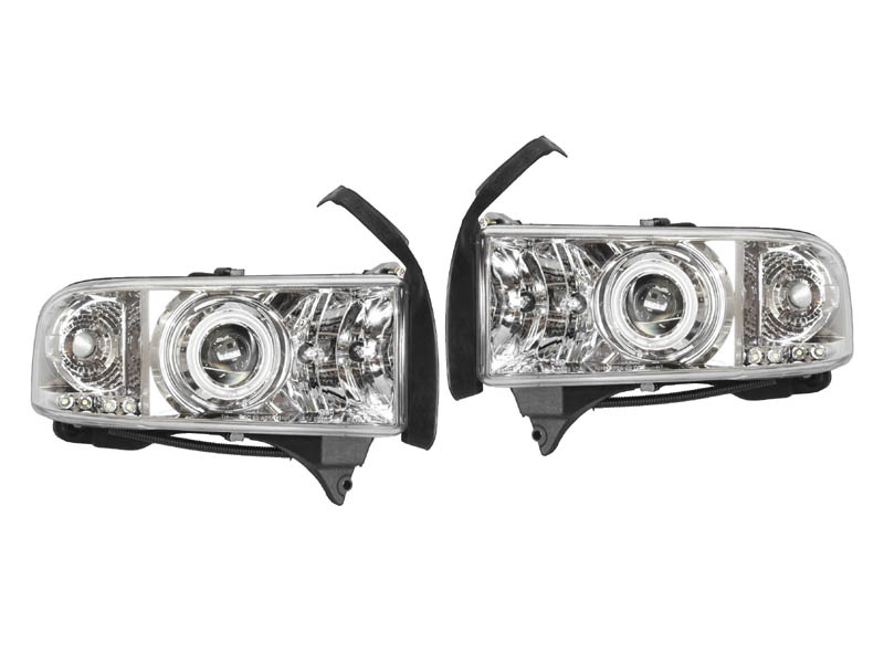 ダッジ ラムピックアップ ラムトラック クリアプロジェクターヘッドライト クローム CCFLリング '94y~'01y【アメ車パーツ】
