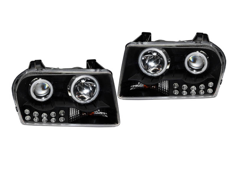 300 3.5/2.7L クリアプロジェクターヘッドライト ブラック '05y~【アメ車パーツ】