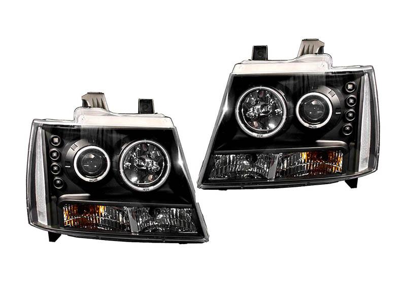 タホ サバーバン クリアプロジェクターヘッドライト ブラック クリアリフレクター CCFLリング '07y~【アメ車パーツ】
