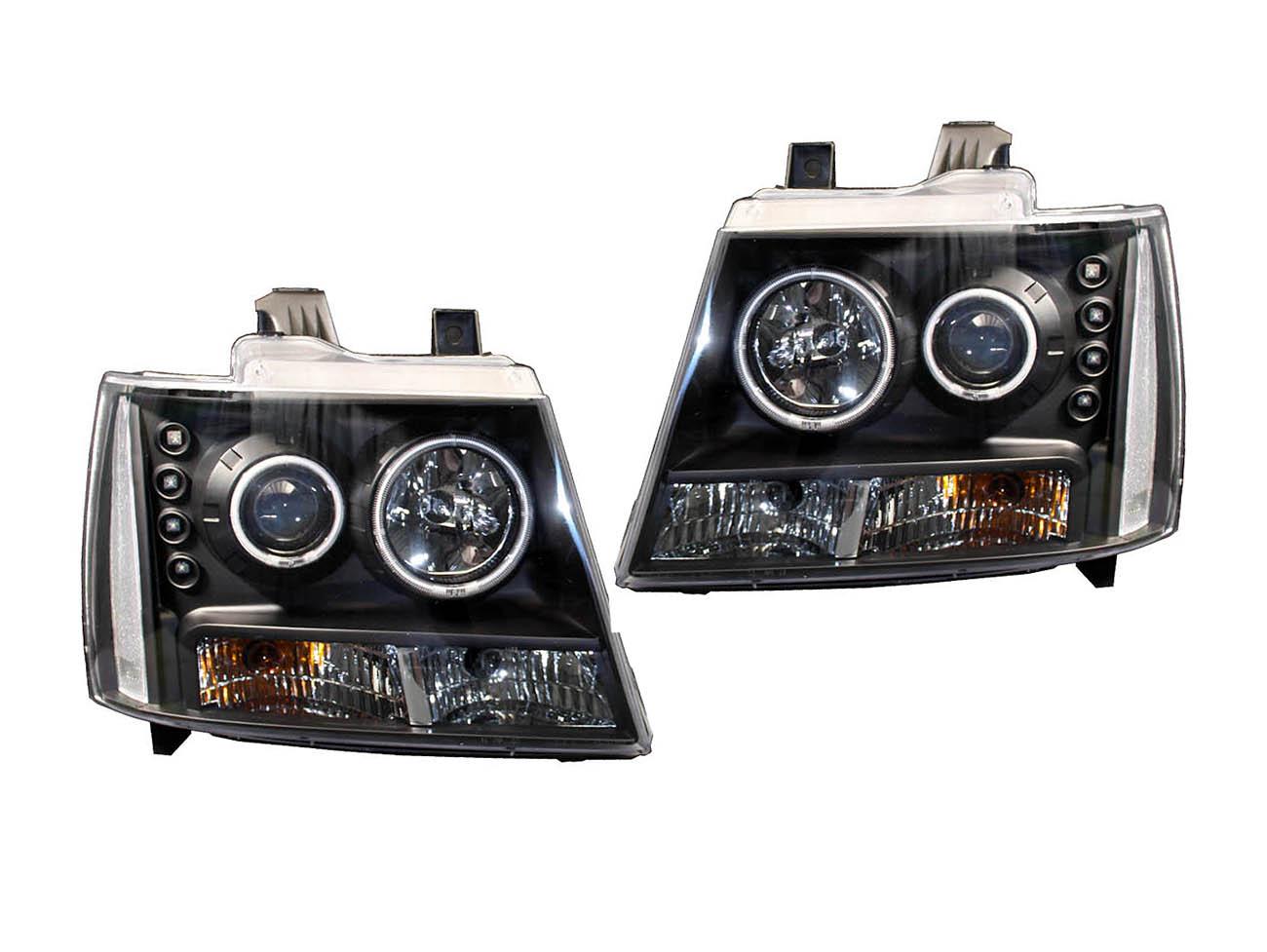アバランチ クリアプロジェクターヘッドライト ブラック クリアリフレクター CCFLリング '07y~【アメ車パーツ】