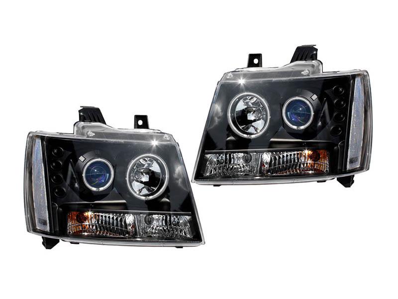 タホ サバーバン ブループロジェクターヘッドライト ブラック クリアリフレクター CCFLリング '07y~【アメ車パーツ】