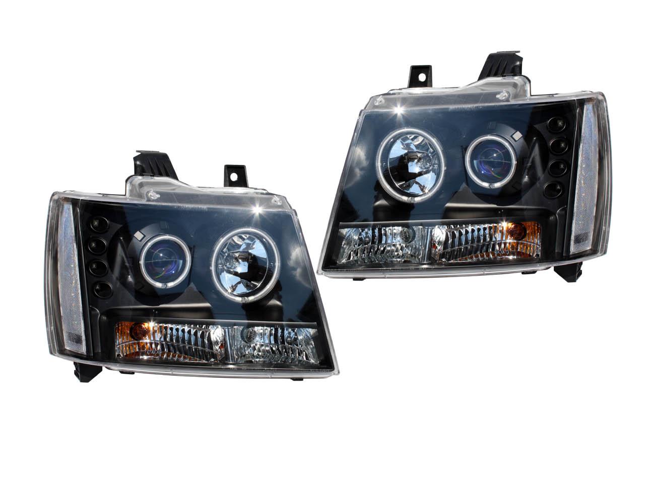 アバランチ ブループロジェクターヘッドライト ブラック クリアリフレクター CCFLリング '07y~【アメ車パーツ】