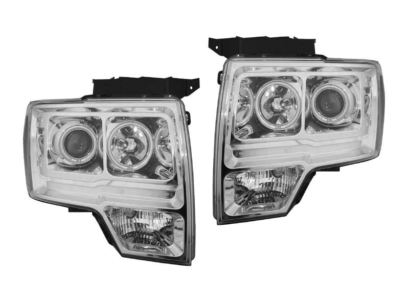 F150 クリアプロジェクターヘッドライト クローム CCFLリング アンバーリフレクター '09y~'14y【アメ車パーツ】