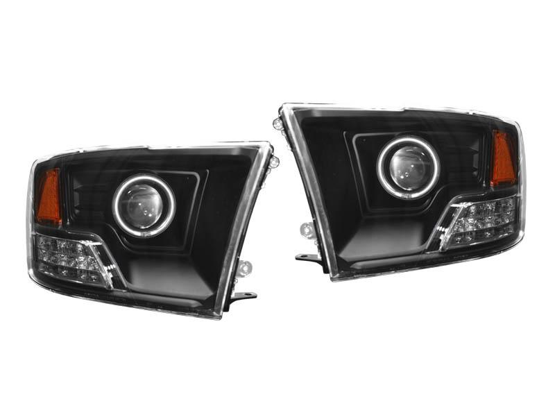 ダッジ ラムピックアップ ラムトラック クリアプロジェクターヘッドライト ブラック CCFLリング アンバーリフレクター '09~'11y【アメ車パーツ】