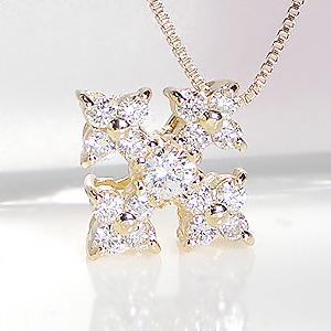 K18YG 0 15ct フラワー クロス ダイヤモンド ペンダント 無色透明H SIクラス品質保証書付送料無料代引手数料無料 ダイヤネックレス ダイヤ ペンダント 花 結晶 ネックレス 18金 ゴールドネックレス 可愛い 人気 おすすめdtshQrCx