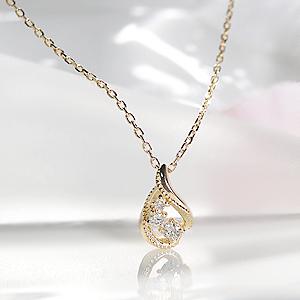 k18YG アンティーク ダイヤモンド ネックレスファッション ジュエリー レディース プチネックレス ペンダント ゴールド イエローゴールド K18 ダイヤ ダイア ミル打ち アンティーク クラシカル 新商品 プレゼント ギフト 18金 送料無料 品質保証書