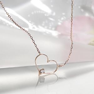 k10PG オープンハート ダイヤモンド ネックレス可愛い 人気 おしゃれ ファッション ジュエリー レディース プチネックレス ペンダント ゴールド ピンクゴールド K10 ダイヤ ダイア ハート HEART 新商品 プレゼント ギフト 送料無料 品質保証書