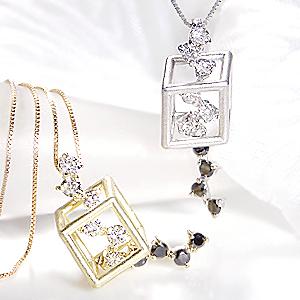 k18WG/YG ダイヤモンド ネックレス【H-SIクラス】【無色透明】ダイヤ ネックレス ホワイトゴールド イエローゴールド ゴールド ネックレス 可愛いネックレス ブラックダイヤ ネックレス 揺れるネックレス プレゼント 品質保証書付 送料無料
