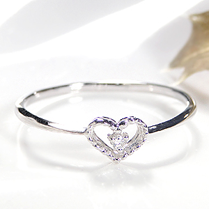 k18WG ダイヤモンド ハートモチーフ リングファッション ジュエリー レディース 指輪 リング ホワイトゴールド ダイヤ ダイア はーと K18 4月誕生石 重ねづけ ピンキー 一粒 品質保証書付 送料無料 代引手数料無料 可愛い