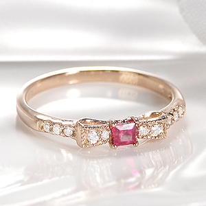 K18PG ルビー ダイヤモンド & りぼんリングファッション ジュエリー レディース 指輪 ダイヤ リボン ゴールド ピンクゴールド ミル打ち アンティーク クラシカル スクエア 可愛い 4月誕生石 重ねづけ 品質保証書付 送料無料 代引手数料無料