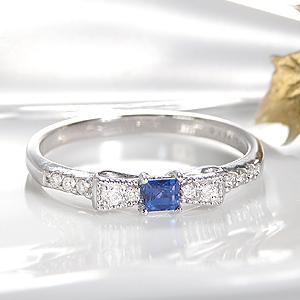 K18WG ブルーサファイア & ダイヤモンド りぼんリングファッション ジュエリー レディース 指輪 リング ダイヤ リボン ゴールド K18 ホワイトゴールド ミル打ち アンティーク クラシカル スクエア 4月誕生石 重ねづけ 品質保証書付 送料無料